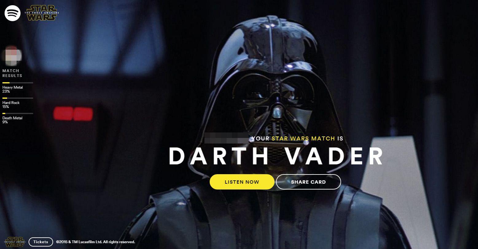 Spotify fez um teste para descobrir qual  personagem de Star Wars combina mais com o seu perfil musical